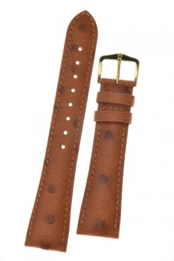 Hirsch 'Massai Ostritch' Tan Leather Strap, 20mm - 04262070-1-20