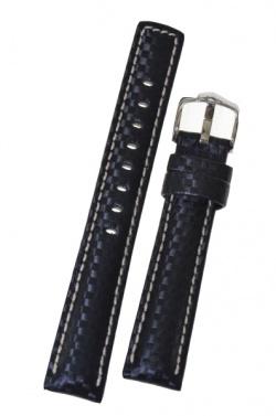 Hirsch 'Carbon' High Tech 18mm Black Leather Strap  - 02592050-2-18