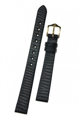 Hirsch 'Lizard' 14mm Black Leather Strap  - 01766150-1-14