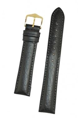 Hirsch 'Highland' M Black, leather watch strap 17mm -  04302150-1-17