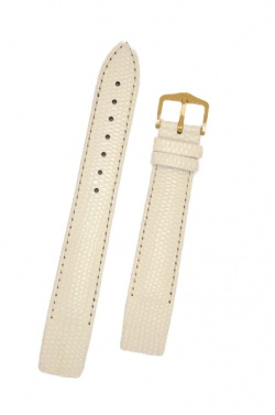 Hirsch 'Rainbow' M White Openended Leather Strap, 12mm - 12302600OE-1-12