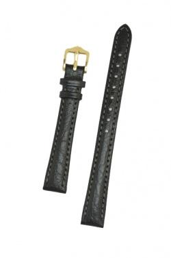 Hirsch 'Highland' Black, leather watch strap 12mm - 04302150-1-12