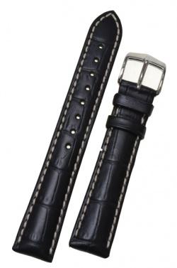 Hirsch 'Modena' Black Leather Strap, 20mm - 10302850-2-20