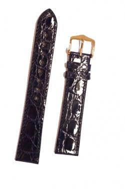 Hirsch 'Genuine Croco' M 18mm Blue Leather Strap  - 18900880-1-18