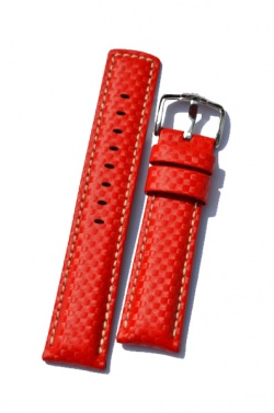 Hirsch 'Carbon' High Tech 22mm  red Leather Strap  - 02592020-2-22