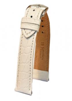 Hirsch 'Aristocrat' 20mm White ,L, Leather Strap  - 03828000-2-20