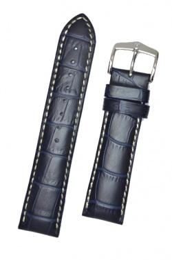 Hirsch 'Modena' Blue Leather Strap, 24mm - 10302880-2-24
