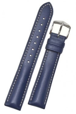 Hirsch 'Heavy Calf' 24mm Blue Leather Strap  - 01475080-2-24