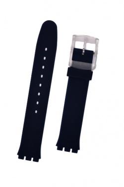 Hirsch Luna, Watch Strap for Swatch in Blue, 16mm, Plastic Buckle  - 63039580-9-19