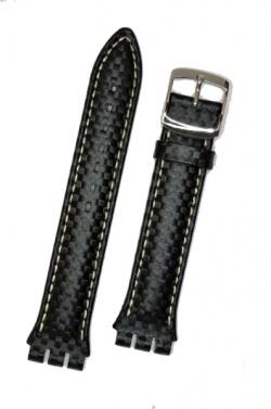 Hirsch Caracas, Watch Strap for Swatch Chronos in Black, 19 mm, Steel Buckle  - 64209250-2-23