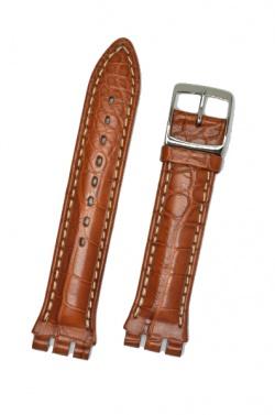 Hirsch Louisiana, Watch Strap for Swatch Chronos in Golden Brown, 19mm, Steel Buckle  - 64200779-2-23