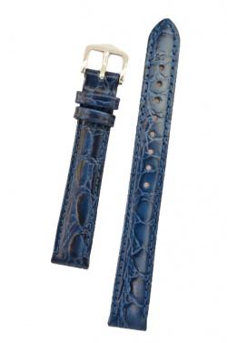 Hirsch 'Crocograin' Blue Leather Strap,M, 16mm - 12302880-2-16