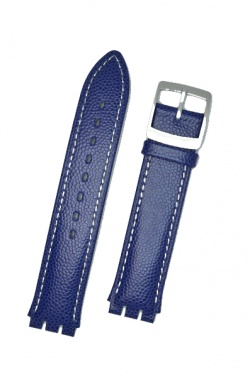Hirsch Mel, Watch Strap for Swatch Gents in Blue, 16mm, Plastic Buckle  - 64007980-9-20