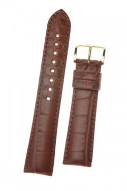 Hirsch 'Genuine Alligator' M 16mm  Golden Brown Leather Strap  - 10200779-1-16
