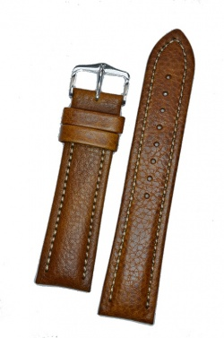Hirsch 'Buffalo' L 22mm Golden Brown Leather Strap  - 11320275-1-22