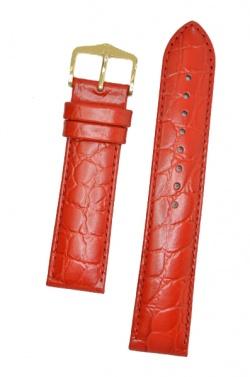 Hirsch 'Crocograin' Red Leather Strap,M, 20mm - 12302820-2-20