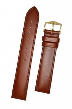 Hirsch 'Osiris' L Middle Brown Leather Strap, 18mm - 03475015-1-18