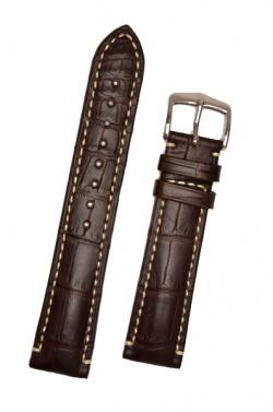 Hirsch 'Viscount' Brown Leather Strap, 24mm - 10270719-2-24