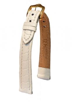 Hirsch 'Aristocrat' 12mm White ,M, Leather Strap  - 03828100-1-12