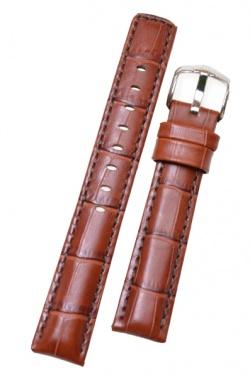 Hirsch 'Grand Duke' 22mm  Mid Brown Leather Strap  - 02528070-2-22