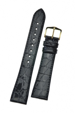 Hirsch 'Genuine Croco' M 18mm Black Openended Leather Strap  - 18800850OE-1-18