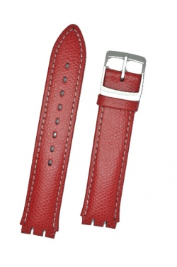 Hirsch Mel, Watch Strap for Swatch Gents in Red, 16mm, Plastic Buckle  - 64007920-9-20