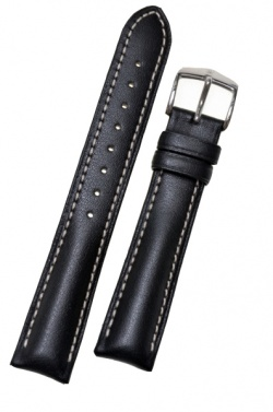 Hirsch 'Heavy Calf' 24mm Black Leather Strap  - 01475050-2-24