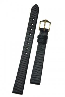 Hirsch 'Lizard' 12mm Black Leather Strap  - 01766150-1-12