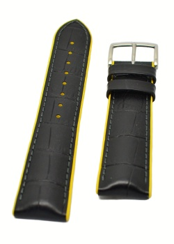Hirsch 'Andy' Performance 24mm Black and Yellow Strap - 0927228050-2-24