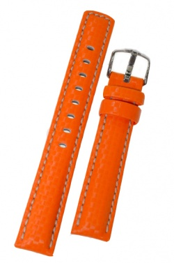 Hirsch 'Carbon' High Tech 20mm Orange Leather Strap  - 02592076-2-20