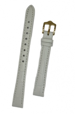 Hirsch 'LouisianaLook' M White Leather Strap, 12mm - 03427100-1-12