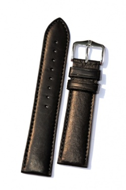Hirsch 'Merino-Artisan' Black Leather Strap, 20mm - 01206050-2-20