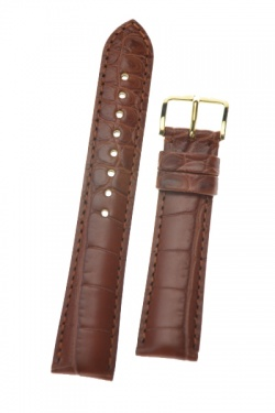 Hirsch 'Genuine Alligator' M 18mm  Golden Brown Leather Strap  - 10200779-1-18