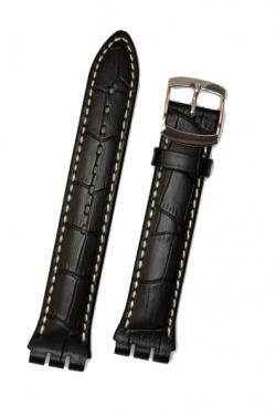 Hirsch Havanna, Watch Strap for Swatch Chronos in Black, 19mm, Steel Buckle  - 64212850-2-23