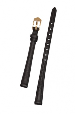 Hirsch 'Camelgrain' 08mm Black Leather Strap  - 01009150-1-08