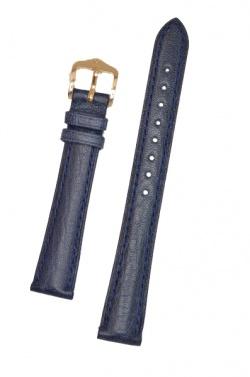 Hirsch 'Camelgrain' L 18mm Blue Leather Strap  - 01009080-1-18