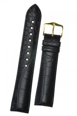 Hirsch 'Genuine Alligator' 22mm Black Leather Strap  - 10220759-2-22