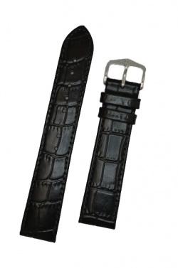 Hirsch 'LouisianaLook' M Black Leather Strap, 22mm - 03427150-2-22