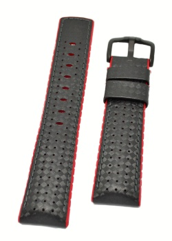 Hirsch 'Ayrton' Performance 24mm Black and Red Strap - 0912092050-5-24