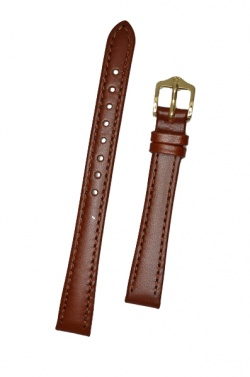 Hirsch 'Osiris' Middle Brown Leather Strap, 14mm - 03475115-1-14