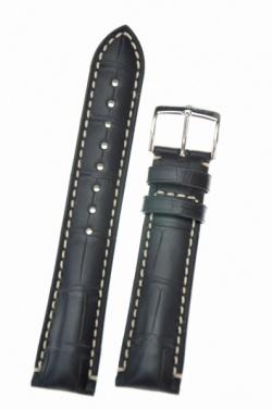 Hirsch 'Viscount' Black Leather Strap, 19mm - 10270759-2-19
