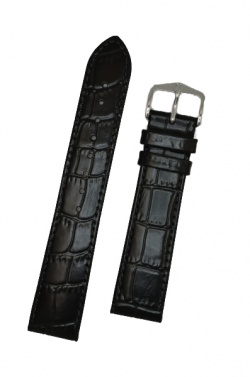 Hirsch 'LouisianaLook' Black Leather Strap, 18mm - 03427050-2-18