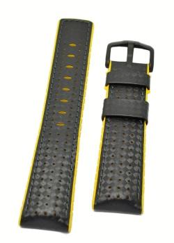 Hirsch 'Ayrton' Performance 24mm Black and Yellow Strap - 0917292050-5-24