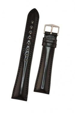 Hirsch 'Siena' L Black,19mm  Tuscan Leather Strap  - 04202050-2-19