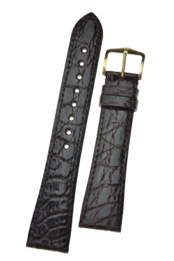 Hirsch 'Genuine Croco' M 18mm Brown Openended Leather Strap  - 18800810OE-1-18
