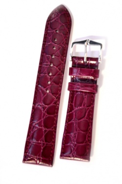 Hirsch 'Crocograin' Purple Leather Strap, 20mm - 12302886-2-20