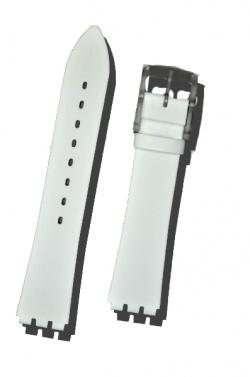 Hirsch Sarah, Watch Strap for Swatch Slim in White, 16mm, Plastic Buckle  - 64109500-9-19