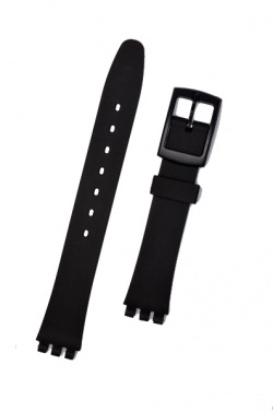 Hirsch Lady Tim, Watch Strap for Swatch  in Black, 12mm, Plastic Buckle  - 63149550-5-14