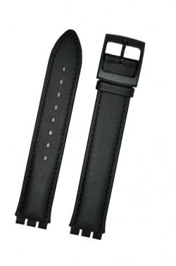 Hirsch William L, Watch Strap for Swatch Gents in black, 17 mm, Plastic Buckle  - 64127550-5-20