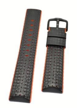Hirsch 'Ayrton' Performance 24mm Black and Orange Strap - 0917692050-5-24